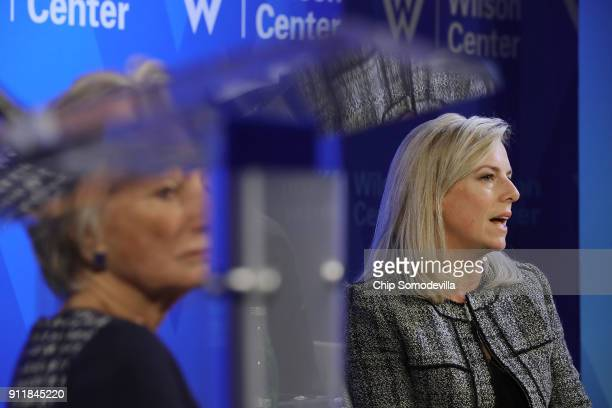 S Homeland Security Secretary Kirstjen Nielsen participates in a discussion with Woodrow Wilson Center President and CEO Jane Harman at the center in...