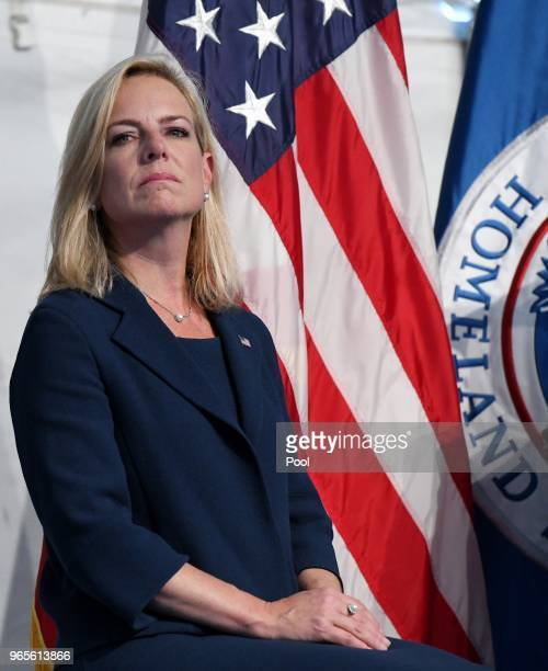 Homeland Security Secretary Kirstjen Nielsen participates in the US Coast Guard ChangeofCommand Ceremony on June 1 2018 at the US Coast Guard...