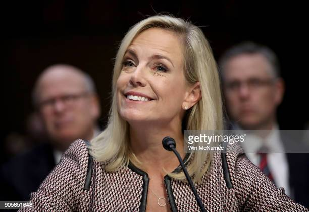 Homeland Security Secretary Kirstjen Nielsen responds to questions from Sen Richard Durbin while testifying during a hearing held by the Senate...