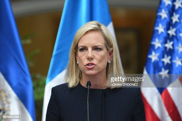 US Homeland Security Secretary Kirstjen Nielsen speaks during a joint press conference with authorities from Guatemala El Salvador Honduras and...
