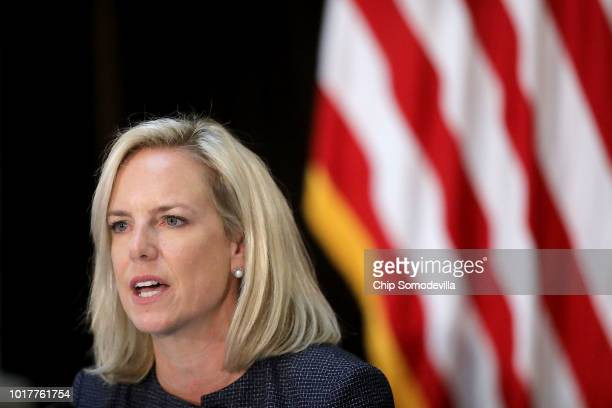 Homeland Security Secretary Kirstjen Nielsen speaks during a meeting of the Federal Commission on School Safety in the Indian Treaty Room in the...