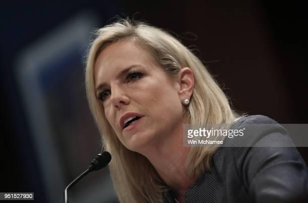 S Homeland Security Secretary Kirstjen Nielsen testifies before the House Committee on Homeland Security April 26 2018 in Washington DC The committee...