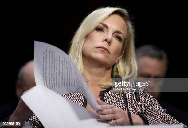 Homeland Security Secretary Kirstjen Nielsen testifies during a hearing held by the Senate Judiciary Committee January 16 2018 in Washington DC Sen...