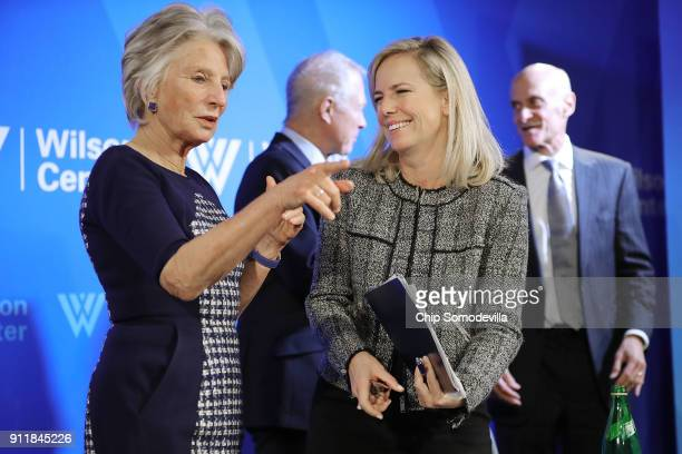 S Homeland Security Secretary Kirstjen Nielsen visits with Woodrow Wilson Center President and CEO Jane Harman following a discussion at the center...