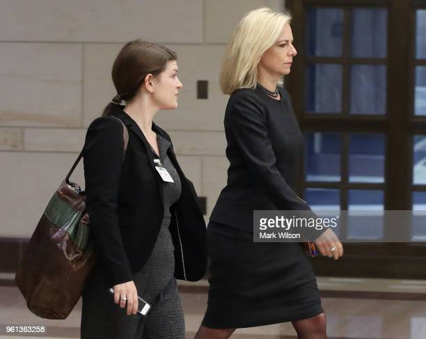 Homeland Security Secretary Kirstjen Nielsen walks to a closed door meeting with House members regarding election security leading up to the midterm...