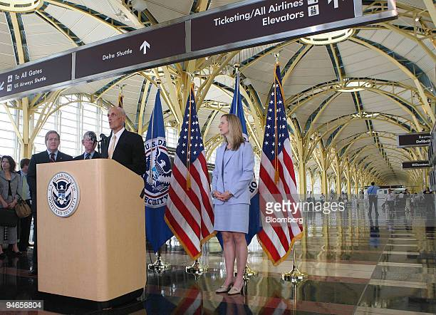 Homeland Security Secretary Michael Chertoff delivers remarks and answers questions at a press conference on the Secure Flight and Advanced Passenger...