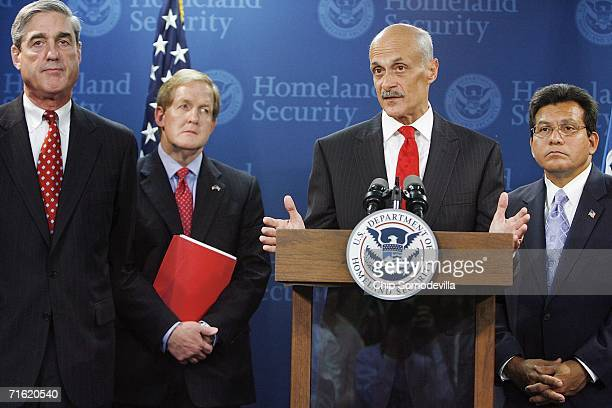 Homeland Security Secretary Michael Chertoff speaks as FBI Director Robert Mueller Homeland Security Assistant Secretary for TSA Kip Hawley and US...