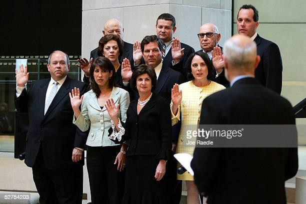 Homeland Security Secretary Michael Chertoff swears-in new U.S. Holocaust Memorial Museum council members May 3, 2005 in Washington, DC. The members...