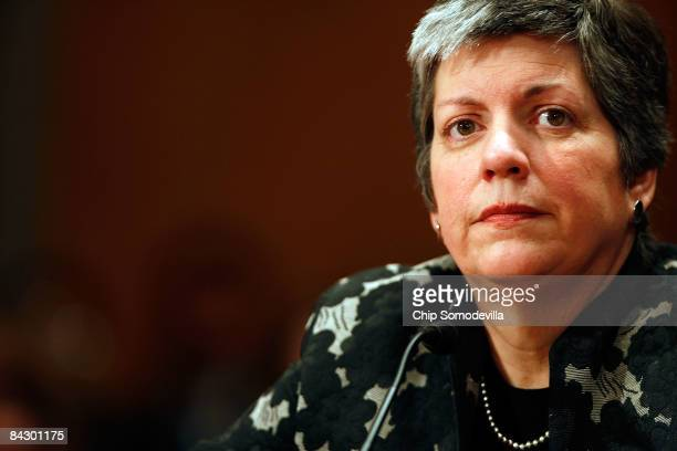 Homeland Security Secretary-designate and Arizona Governor Janet Napolitano pauses while testifying during her confirmation hearing before the Senate...