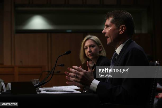 Homeland Security Undersecretary Jeanette Manfra and Assistant Director of the FBI Counterintelligence Division Bill Priestap testify during a...