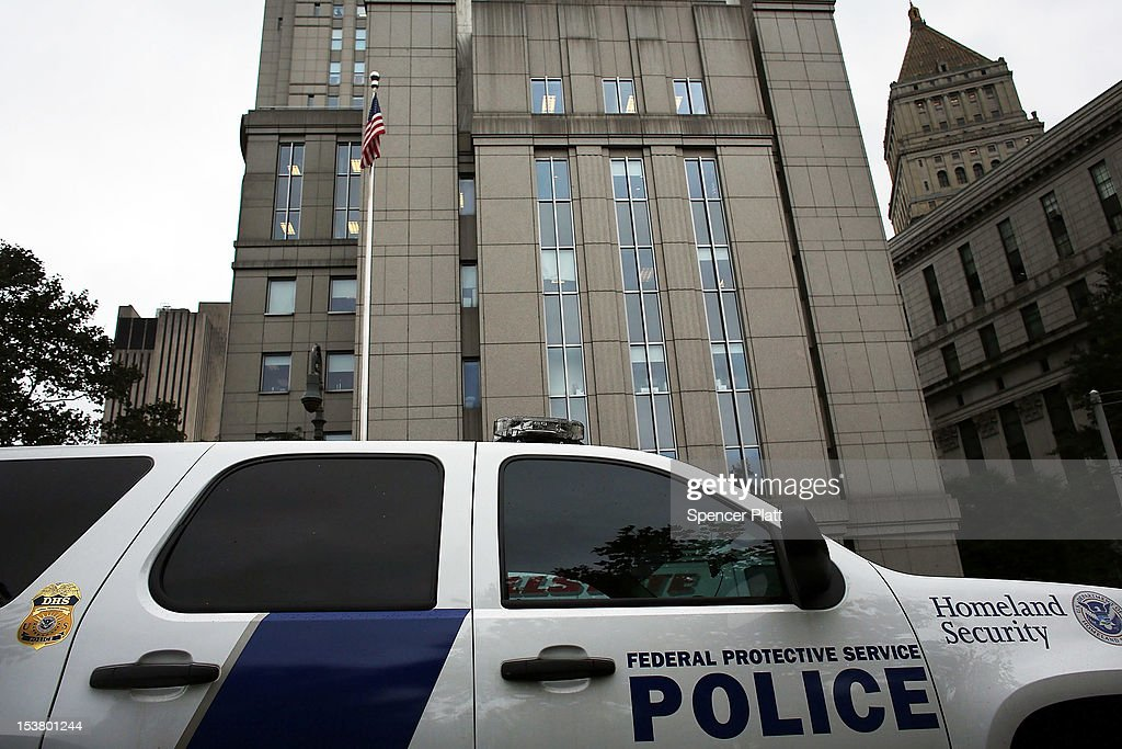 A Homeland Security vehicle sits outside of U.S. District Court in Manhattan during a court appearance for three men brought from England to New York to face terrorism charges on October 9, 2012 in New York City. Security was heightened during a hearing for Khaled al-Fawwaz, Adel Abdul Bary and Abu Hamza al-Masri to learn how their cases will proceed to trial. Al-Masri, the one armed Egyptian-born preacher, faces charges that he attempted to set up a terrorist training camp in Oregon and assisted in the abduction of 16 hostages, two of them American tourists, in Yemen in 1998. Both al-Fawwaz and Abdul Bary face charges that they participated in the bombings of embassies in Tanzania and Kenya in August 1998.