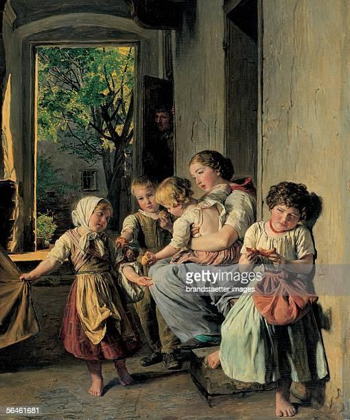 Homeless after eviction Detail Oil/wood 1859 [Die Delogierten Detail oel auf Holz 1859]