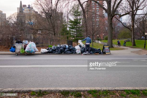 homeless black man sorting a garbage in central park deserted because of coronavirus outbreak. - alex potemkin coronavirus stock pictures, royalty-free photos & images