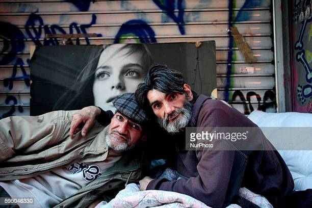 Homeless brothers find shelter in the same spot for over 2 years in Athens city center on Mar 18, 2016