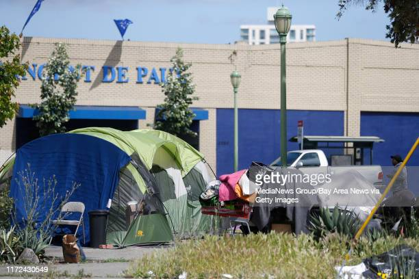A homeless camp along 2200 block of San Pablo Avenue is photographed on Thursday May 11 in Oakland Calif