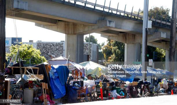 A homeless camp at Market Street and 5th Street is photographed on Thursday May 18 in Oakland Calif