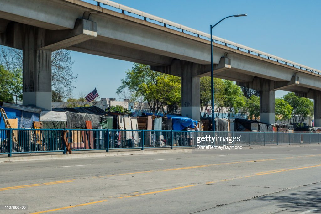 Homeless Camp Under the Bart in Oakland : Stock Photo