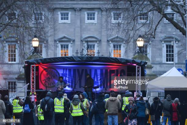 Homeless campaigners attend peaceful protest concert to raise awareness of homelessness in Ireland outside Leinster House Dublin On Tuesday December...