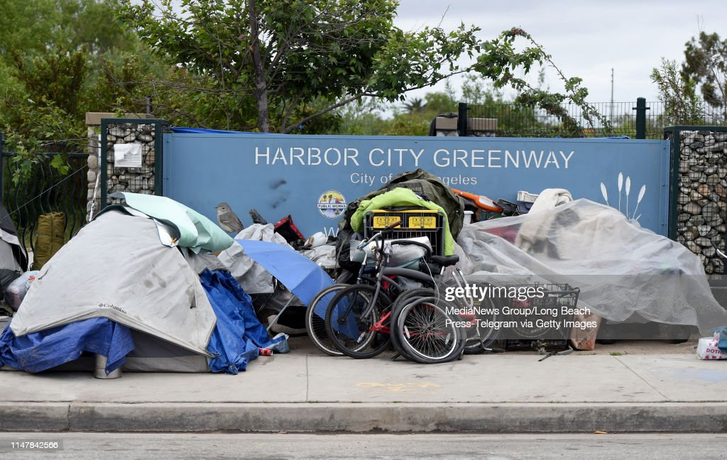 A homeless encampment on Lomita Blvd  near Vermont Ave  known as the