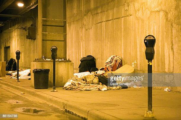 homeless encampment under the city - illinois stock pictures, royalty-free photos & images