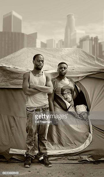 Homeless Family Outside Their Tent