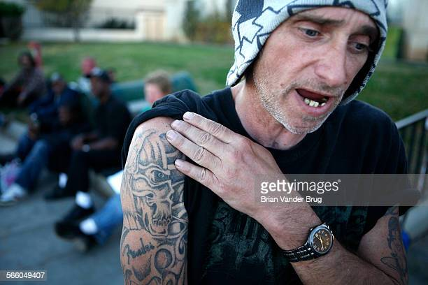 Homeless heroin addict Jerry Frazier waits in line for outside the Lancaster Community Shelter for services Currently clean and in a methadone...
