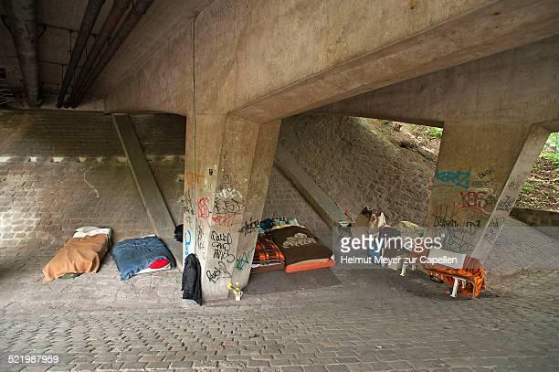 Homeless' kip under a bridge, Nuremberg, Middle Franconia, Bavaria, Germany