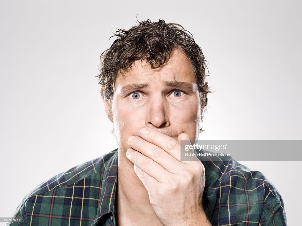homeless man about to barf : Stock Photo