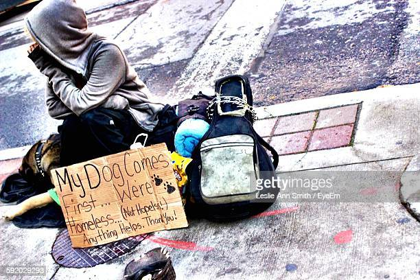 homeless man and his dog - unemployment stock photos and pictures