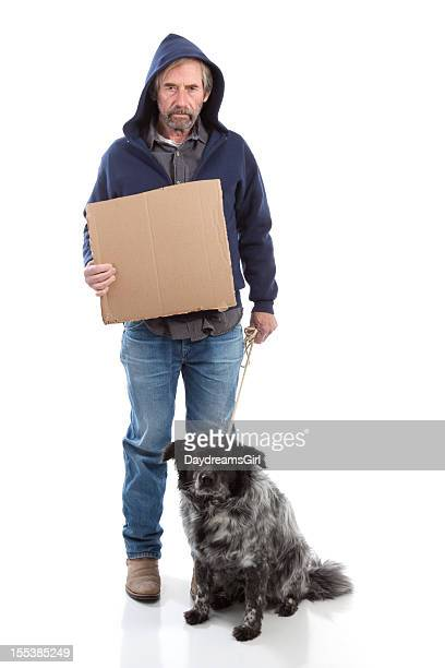 Homeless Man Holding Sign Isolated on White Backgroundw with Dog