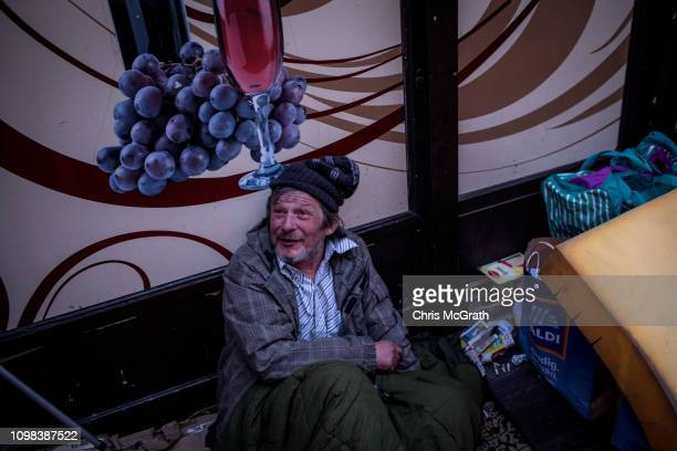 Homeless man is seen on the street on January 16, 2019 in Budapest, Hungary. In June 2018 a law was approved that banned homeless people from...