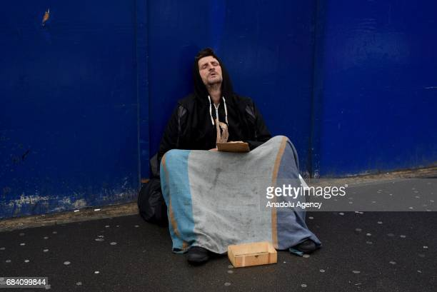 A homeless man on Charing Cross Road in London United Kingdom on May 16 2017