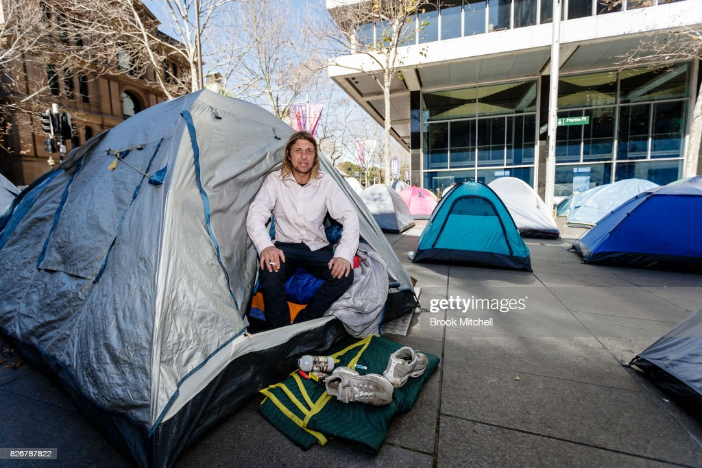 Homeless man Peter Watmough is seen in a tent in Martin Place on August 6 & Homeless Campers At Martin Place Face Eviction Photos and Images ...