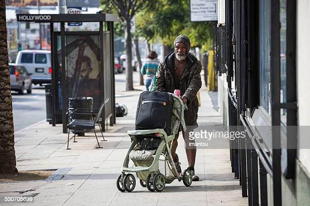 homeless man - homeless los angeles stock photos and pictures