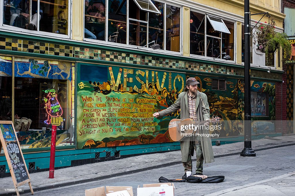 CONTENT Homeless Man Playing A Guitar Outside Cafe In Downtown San Francisco Hes
