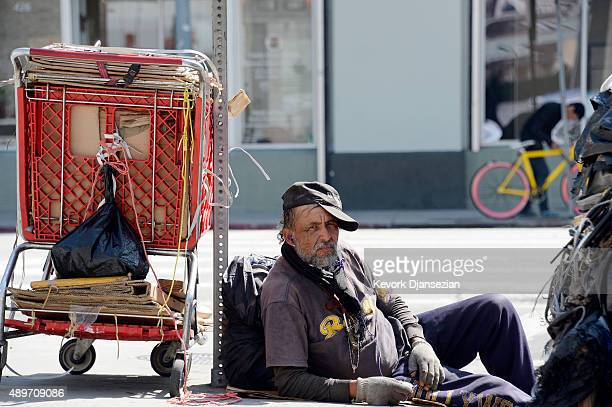 A homeless man September 23 in the skid row section of Los Angeles California Mayor Eric Garcetti and City Council members declared public emergency...