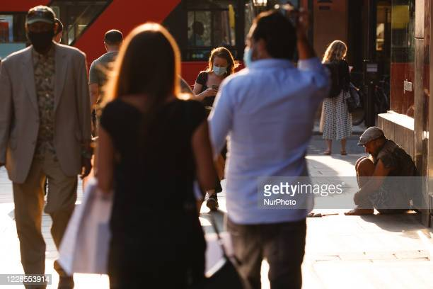 Homeless man sits on Oxford Street in London, England, on September 16, 2020. While the UK continues to edge towards economic recovery some 3,991 new...