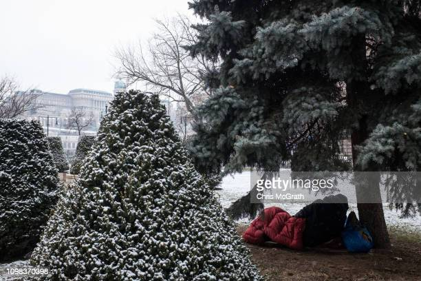 Homeless man sleeps under a tree on January 20, 2019 in Budapest, Hungary. Over the past months thousands of Hungarians have turned out in the...