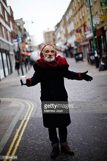 A homeless man who did not want to give his name poses for his photograph on Brick Lane on January 04 2011 in London England He says he has lived in...