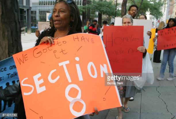 Homeless New Yorkers rally outside Federal Plaza to demand more Section 8 housing October 4 2004 in New York City