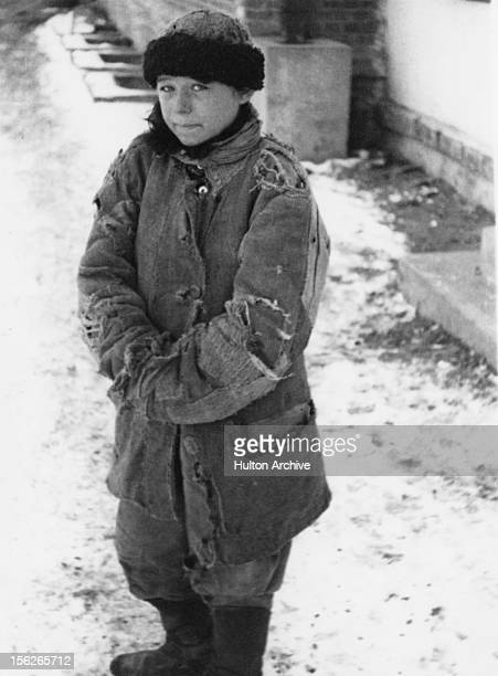 A homeless peasant boy in Moscow after the manmade Holodomor famine in the Ukraine former Soviet Union Spring 1934