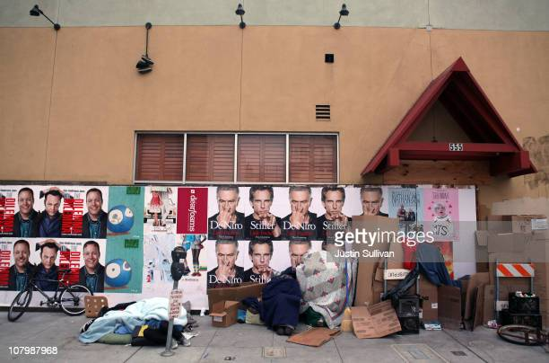 Homeless people camp in front of an out of business Trader Vic's restaurant on January 11 2011 in San Francisco California California governor Jerry...