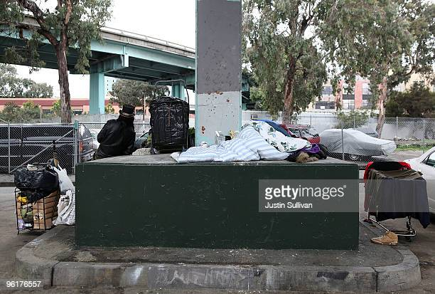 Homeless people set up camp under a freeway overpass January 25 2010 in San Francisco California San Francisco Mayor Gavin Newsom announced ambitious...