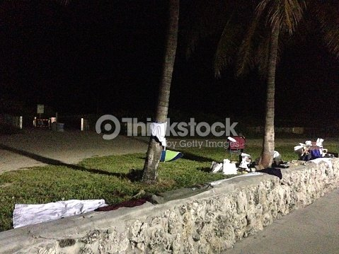Homeless People Sleeping Place At Night South Beach Miami Stock Photo