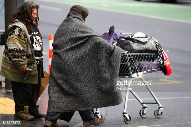 Homeless people walk the streets in the Auckland CBD on July 13 2017 in Auckland New Zealand Research by Roy Morgan found that economic issues were...