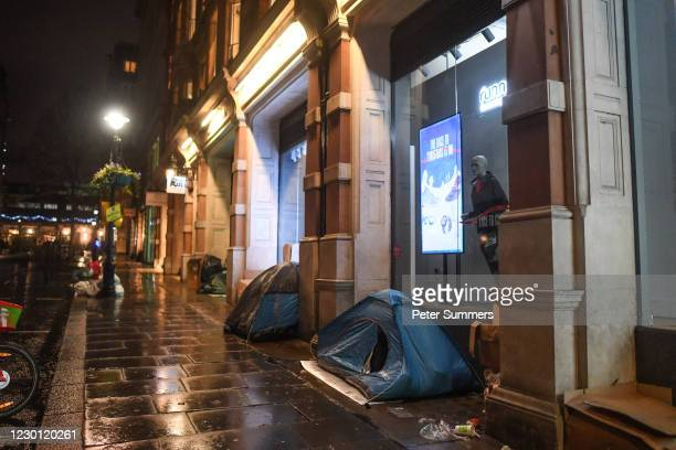 Homeless people's tents are seen on December 13, 2020 in London, England. The number of new rough sleepers has risen in London this year amid the...