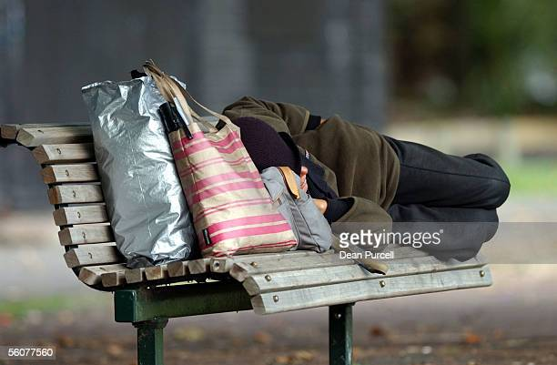 Homeless person sleeping on a park bench at Victoria Park Auckland