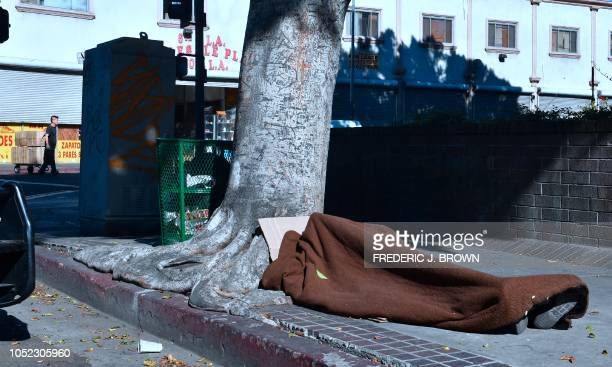 A homeless person sleeps beside a tree on the sidewalk in Skid Row downtown Los Angeles California on October 16 2018 Unsanitary conditions of street...