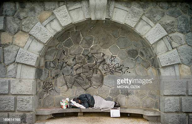A homeless person sleeps on a bench near the banks of the river Vltava on early morning of May 29 2013 in Prague AFP PHOTO / MICHAL CIZEK