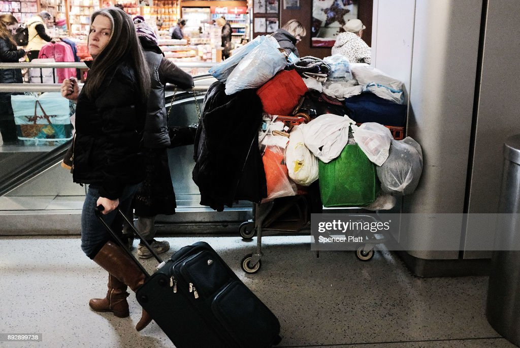 A homeless person's belongings sit in a Manhattan train station on December 14, 2017 in New York City. According to a new report released by the U.S. Department of Housing and Urban Development New York City's homeless population expanded by about 4 percent in 2017 as the number of homeless people nationwide grew to about 553,000.